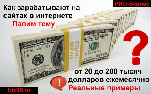 Доллары в пачках и название сайта PRO-Бизнес и его адрес