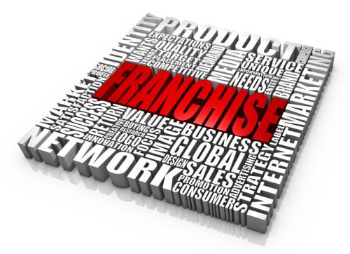 Слово франшиза написанное красными английскими буквами в окружении других слов