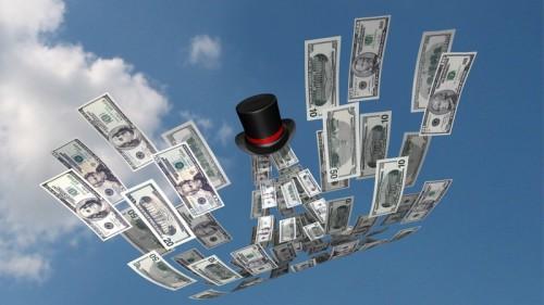 Доллары вылетают из цилиндра
