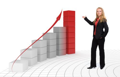Девушка и график повышения продаж