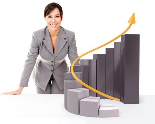 Девушка и график увеличения дохода