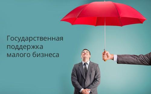Надпись - государственная поддержка малого бизнеса и предприниматель под зонтом