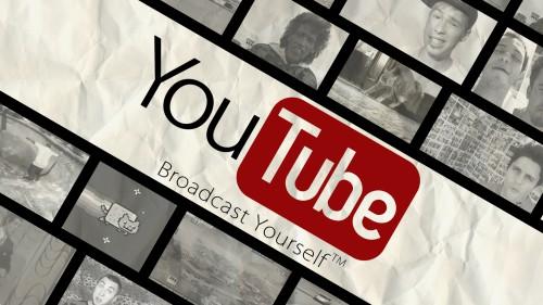 Надпись YouTube и кадры роликов