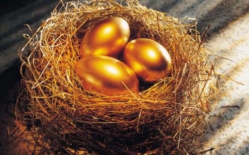 Золотые яйца в гнезде из соломы