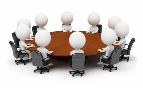 Акционеры ЗАО, человечки сидят вокруг круглого стола