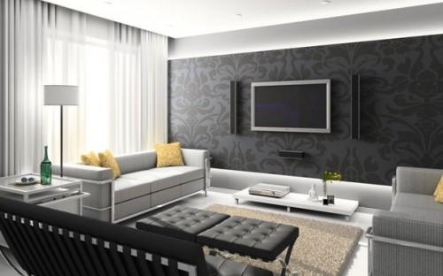 Красивый чёрно-белый дизайн интерьера