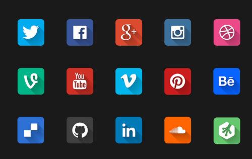 Иконки социальных сетей на чёрном фоне